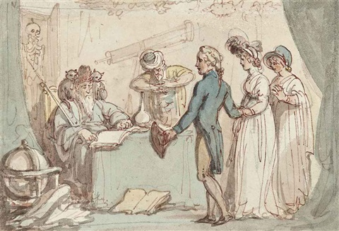cadwaller assumes the character of a fortune teller by thomas rowlandson