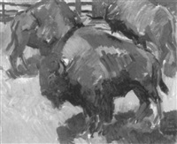 farm scene with bison by john johnson