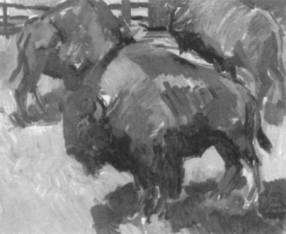 farm scene with bison by john johnson