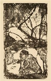 manao tupapau elle pense au revenant. - femme maorie dans un paysage de branches d'arbres (2 works) by paul gauguin
