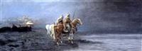 cavaliers au coucher du soleil by f. percy
