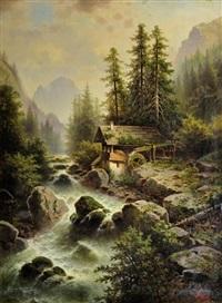 waldmühle mit wasserfall im bayerischen hochgebirge by anton pickert