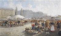 vielfigurige marktszene (naschmarkt?) by franz reichmann