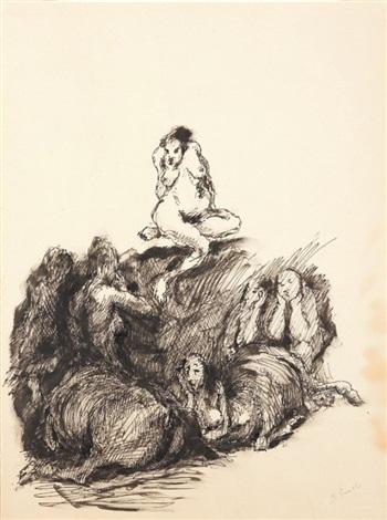 scenografia con nudo di donna e cavalli by domenico gnoli