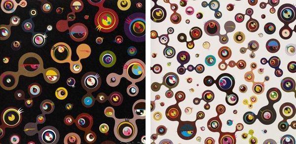jellyfish eyes-black 4 jellyfish eyes-white 5 (2 works) by takashi murakami