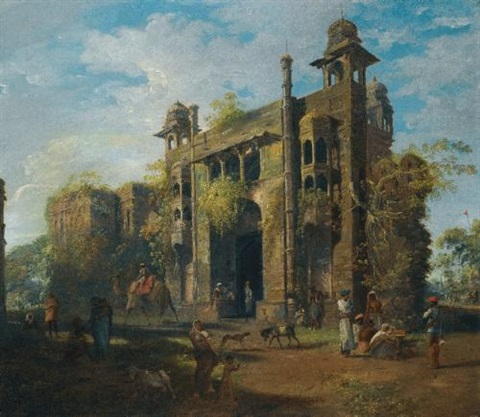 view of the gate of the lal bagh dacca by robert home