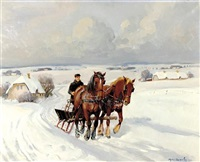 horse drawn sleigh by johannes meyer andersen