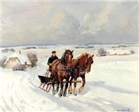 horse drawn sleigh by johannes meyer andersen