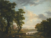 an extensive wooded river landscape, with shepherds reclining in the foreground and ruins beyond by george barret