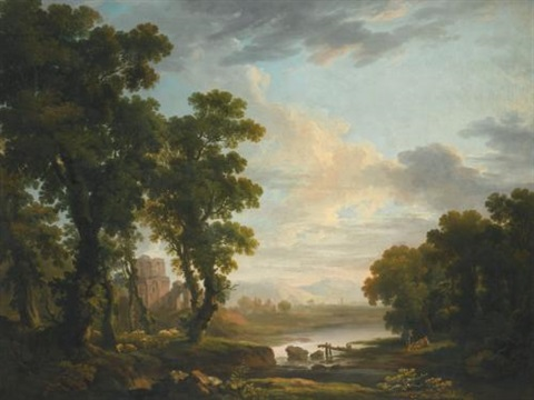 an extensive wooded river landscape with shepherds reclining in the foreground and ruins beyond by george barret