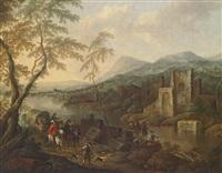 flusslandschaft mit ruinen und reisenden by horatius de hooch