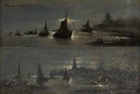 vues portuaires nocturnes (2 works) by édouard-joris moerenhout