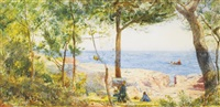 an artist painting by the sea: mediterranean coastal scene by john william inchbold