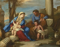 holy family with the young saint john the baptist by luca giordano