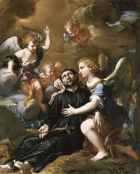 angels comforting saint francis xavier by ludovico mazzanti