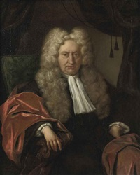 portrait of a gentleman in a black costume and a red velvet cloak, seated in a chair by jan maurits quinkhardt