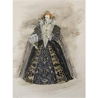 costume for beverly sills as queen elizabeth in donizetti's roberto devereux, new york city opera by jose varona