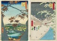 mama no momiji, tekona no yashiro tsugihashi (der mama ahornbaum, tekona schrein und brücke) by ando hiroshige