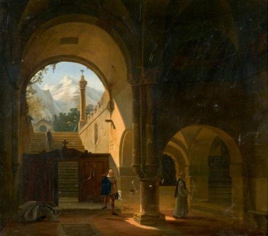 gentilhomme visitant un monastère cistercien by françois marius granet