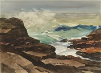 views of rocky coast (+ another, similar; 2 works) by vladimir pavlosky