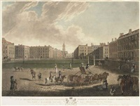 view of hanover square (+ 3 others; 4 works) (engraved by robert pollard) (after edward dayes) by robert dodd