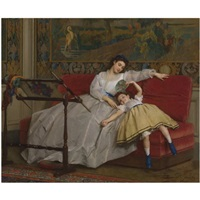 mother with her young daughter by gustave léonhard de jonghe