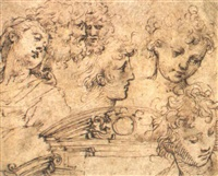 studies of seven heads and a pediment and a scroll by inigo jones