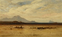 wagon train in oregon by samuel colman