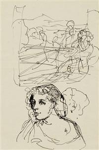portrait de filles et personnages/scène erotique et bouquet de fleurs by balthus