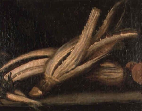 bodegón de cardo y zanahoria by juan fray sanchez y cotan