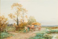 at willingford, gloucestershire; boy with a hay cart and pet terrier by david bates