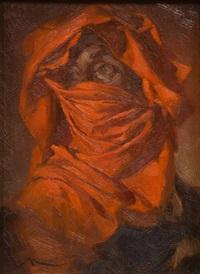 hombre con turbante rojo by manuel monedero