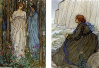 illustrations for tennyson's guinevere (10 works) by emma harrison