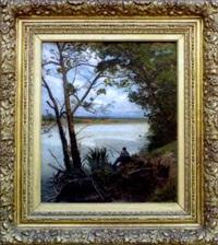 pêcheur au bord de la rivière by albert f.a. laurens