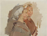 twee scheveninger vissersvrouwen: two girls chatting by isaac israels