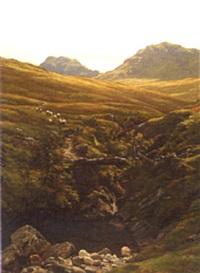 sheep in a scottish landscape by john james bannatyne