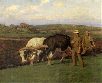 farm scene with men plowing a field by oscar f. adler