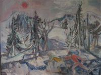 deux skieurs de fond sous soleil rouge by maurice empi