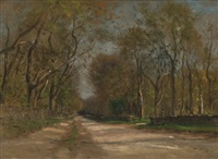 roadway through the forest, spain by samuel colman