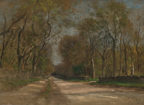roadway through the forest spain by samuel colman