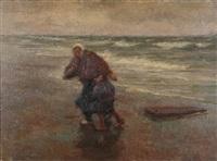 plage animée d'une femme de pêcheur et garçon by edgard farasyn