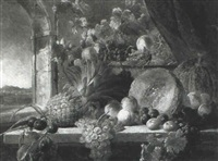 grapes, plums, peaches, a melon and a pineapple on a table by james charles ward