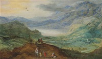 an extensive mountainous landscape with figures on a path, a river valley beyond by philips de momper the elder