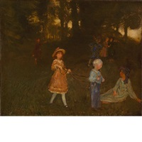 playing in the woods (loitering children) by arthur bowen davies