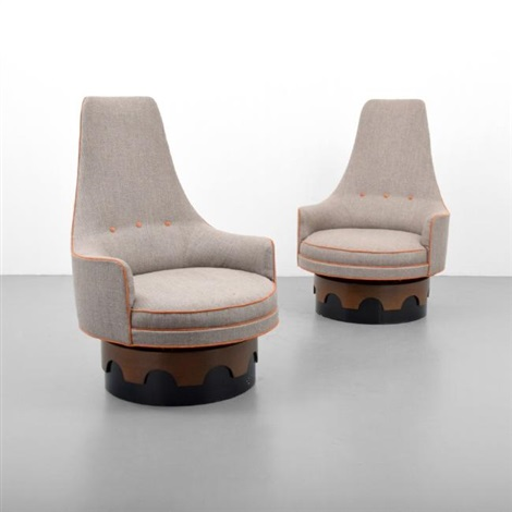 Pair Of Adrian Pearsall High Back Swivel Chairs By Adrian Pearsall
