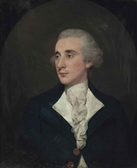portrait of a gentleman, half-length, in a blue coat and white cravat, in a painted oval by thomas gainsborough