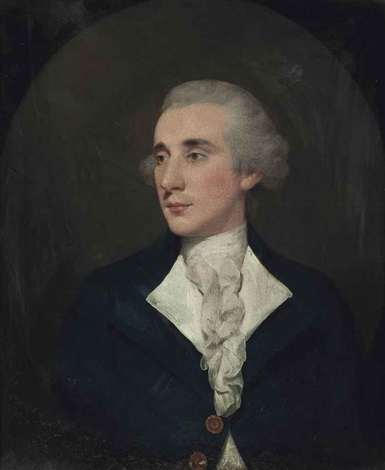 portrait of a gentleman half length in a blue coat and white cravat in a painted oval by thomas gainsborough