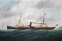 steam vessel rubens leaving le havre by victor charles edouard adam