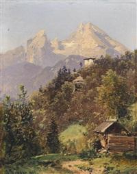 drei verschiedene ansichten aus den berchtesgadener alpen (3 works) by adalbert waagen