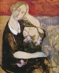 mujer sobre fondo de flores by cristina perez gabrielli